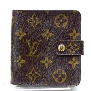 Auth LV Brown Zippy Compact Monogram Canvas Wallet
